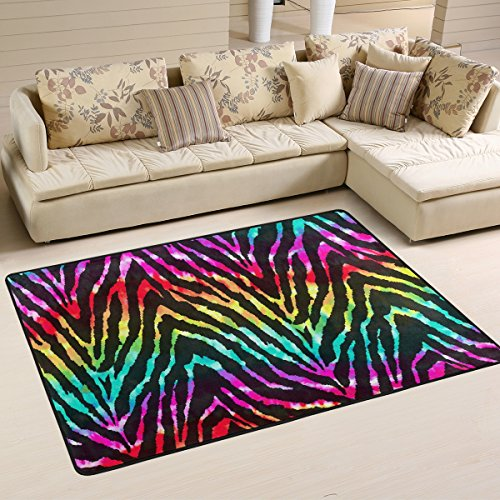 Naanle Rainbow Zebra Print Area Rug 2'x3', Colorful Polyester Area Rug Mat for Living Dining Dorm Room Bedroom Home (Touch Rainbow Zebra)