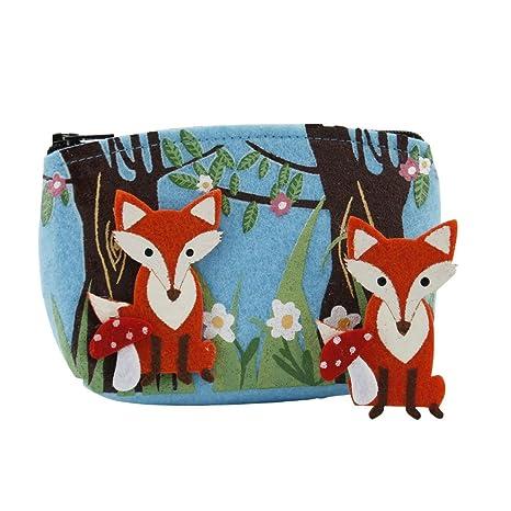 Diseño de bosque fieltro Fox bolso de mano y broche Set ...