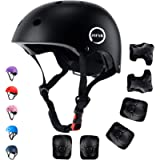 JIFAR Adjustable Helmet for Youth Kids Toddler Boys Girls,Protective Gear with Elbow Knee Wrist Pads for Multi-Sports…
