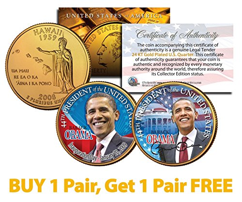 BARACK OBAMA Inauguration 24K Gold Gilded Hawaii State Quarters 2-Coin Set - Buy One, Get One FREE
