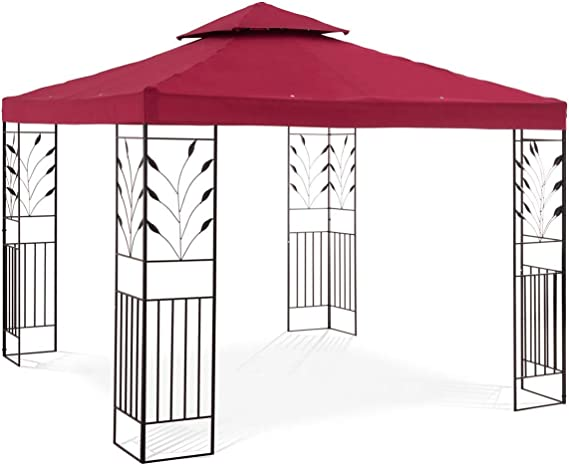 Uniprodo Pérgola De Metal Pabellón para Jardín Uni_PERGOLA_3X3R (Dimensiones: 3 x 3 m, Resistente a radiación Ultravioleta e Impermeable, 180 g/m², ...