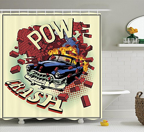 [Cars Decor Shower Curtain Set Car Crash Accident In Brick Walls Illustration With Eighties Pop Art Details Broken Motor Theme Bathroom Accessories] (Vintage Halloween Costumes From The 80s)