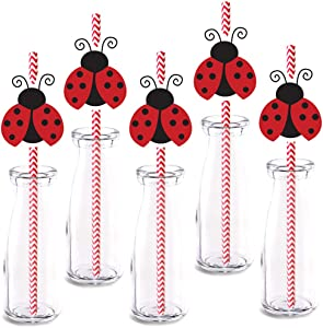 Ladybug Straw Decor, 24-Pack Boy Girl red ladybugs Baby Shower Birthday Party Decorations, Paper Decorative Straws