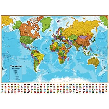 Amazoncom Hemisphere Blue Ocean World And USA Wall Map Set Toys - Usa on a world map