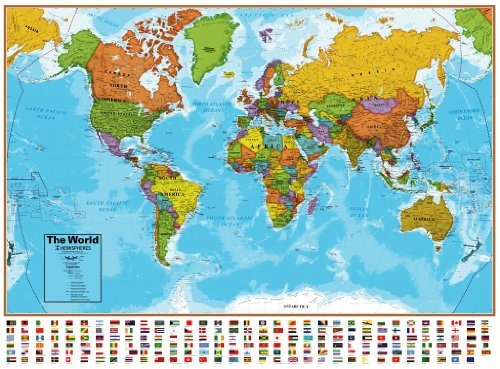 Hemisphere Blue Ocean World and USA Wall Map Set (Hemisphere Map)
