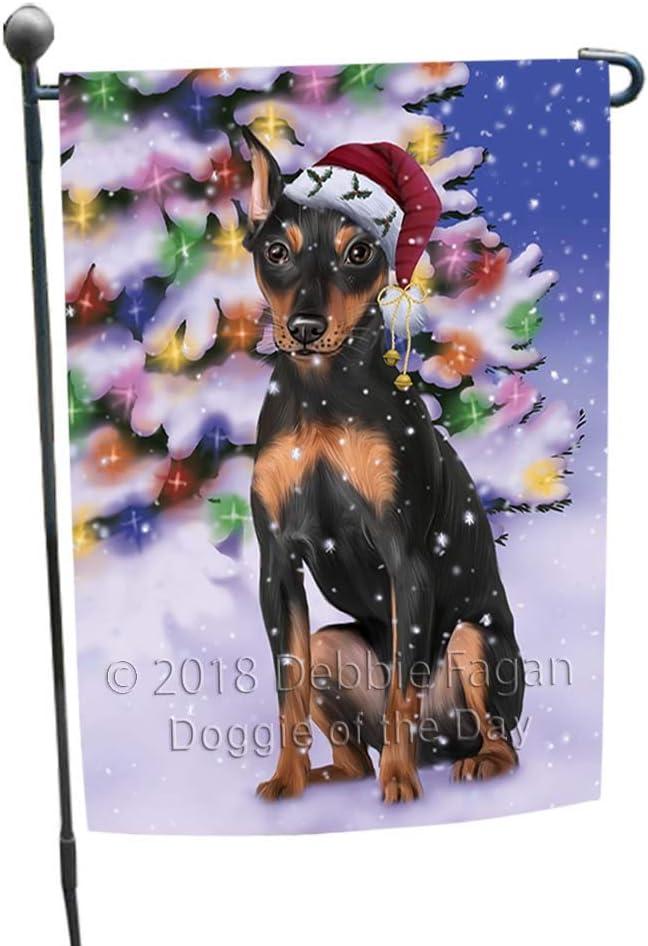 Winterland Wonderland Miniature Pinscher Dog in Christmas Holiday Scenic Background Garden Flag GFLG55999
