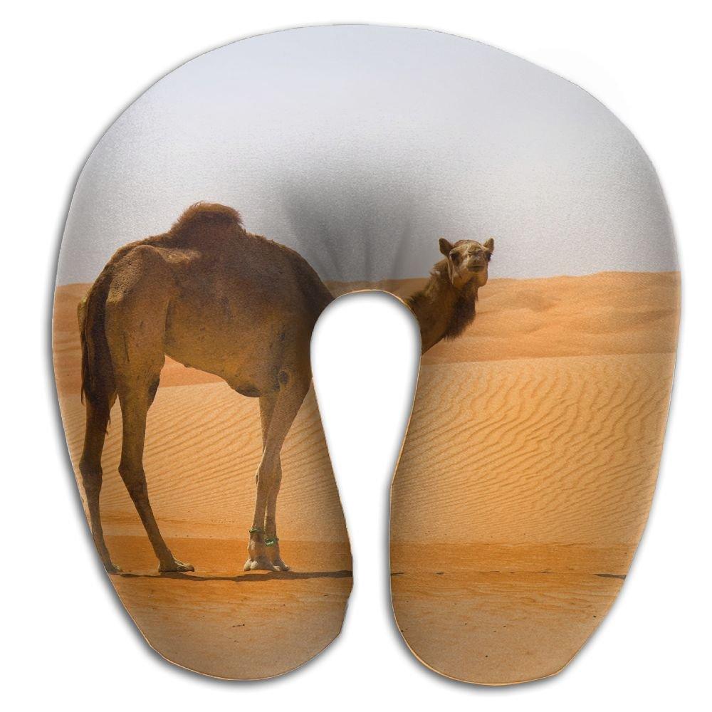 KIENGG 3D Camel Animal Desert Memory Foam U-Shaped Pillow,Fashion Travel Rest Pillow for Neck Pain,Breathable Soft Comfortable Adjustable