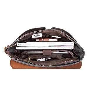 Awtang Men Vintage PU Leather Briefcase Laptop Shoulder Messenger Bag