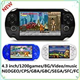 New CZT 4.3 inch 8GB Video Game Console build in 1200+ games for Arcade NEOGEO/CPS/FC/SFC/GBA/GBC/GB/SMC/SMD/SEGA Handheld Game Console game Player video music Ebook (Black)