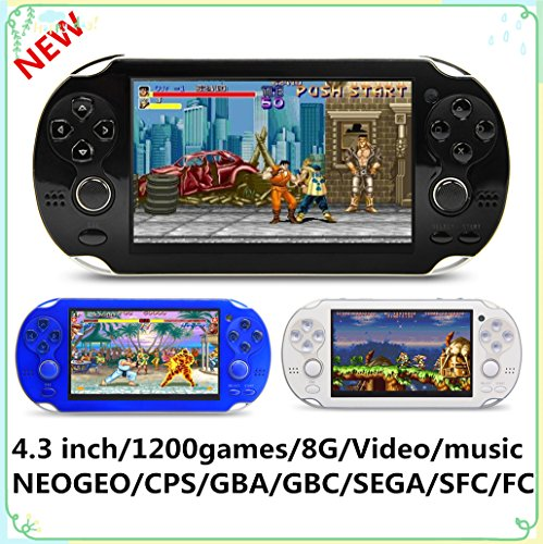 New CZT 4.3 inch 8GB Video Game Console build in 1200+ games for Arcade NEOGEO/CPS/FC/SFC/GBA/GBC/GB/SMC/SMD/SEGA Handheld Game Console game Player video music Ebook (Black) by CZT