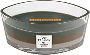 WoodWick Trilogy Cozy Cabin, 3-in-1 Highly Scented Candle, Ellipse Glass Jar with Original HearthWick Flame, Large 7-inch, 16 oz