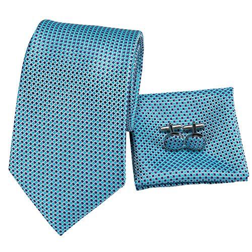 (Hi-Tie Silk Neckties Plaid Check Jacquard Tie Pocket Square Cufflinks Set Gift Box (Little Blue plaid))