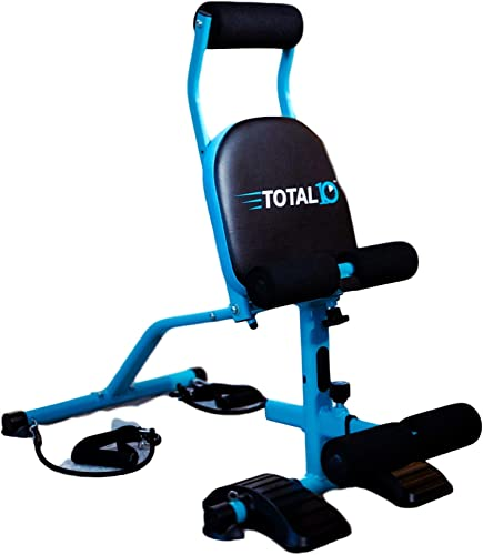TOTAL10 Ab Trainer w 5 Position Inclining Seat That Features The Exclusive 10moves in 10minutes Full Body YouTube Workout Folds for Secure Storage. Beginner Intermediate Advanced Tension.