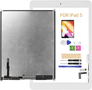 A-MIND Screen Replacement for iPad 5 2017 9.7inch A1822 A1823(Not for Air 1) LCD Display and Touch Screen digitizer with Home Button & Free Tool Repair Kit & Screen Protector (White)