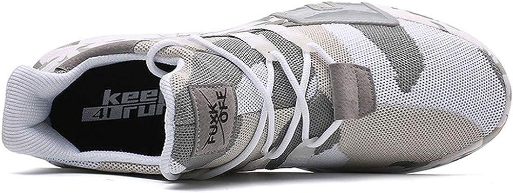 JiaMeng Hombre Zapatillas de Senderismo Deportivas Aire Libre y Deportes Que se Ejecutan Transpirable Zapatos de Cordones de Camuflaje Planos
