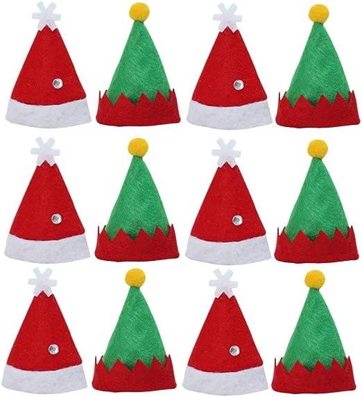 Amosfun 12 Piezas Mini Sombrero de Navidad Gorro de Elfo Sombrero ...