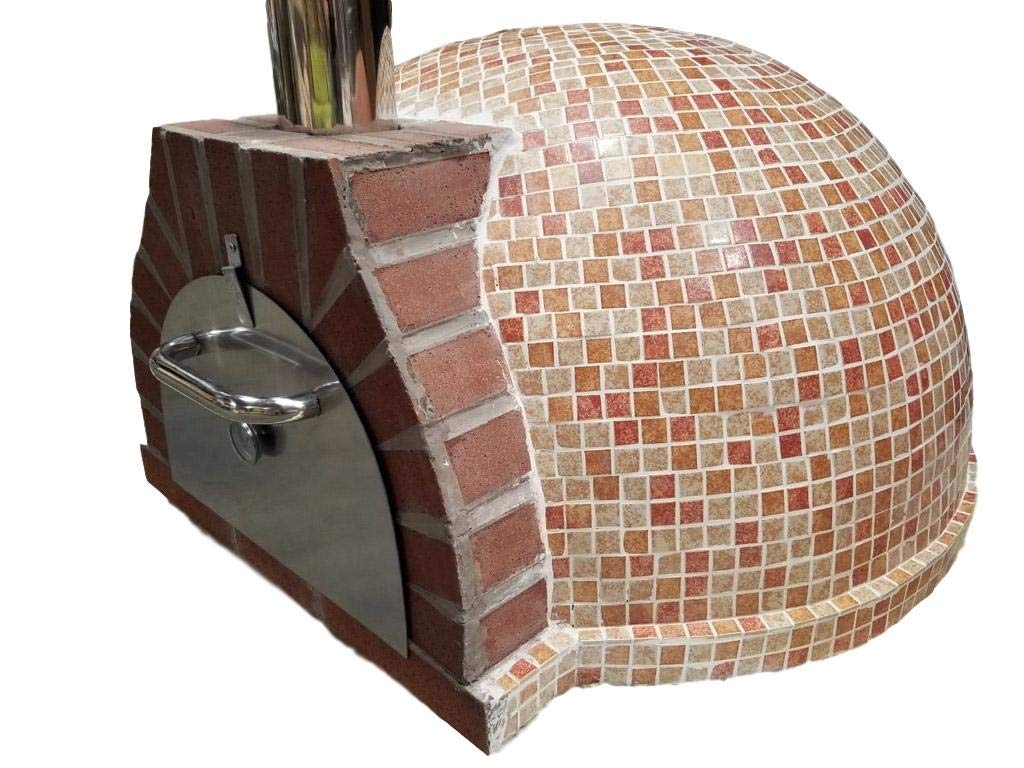 Western Pacific Pizza Oven Outdoor Red Orange Tan Mosaic Tile, Wood Coal Fired BBQ Grill Roast, Stone Brick Clay Cement New