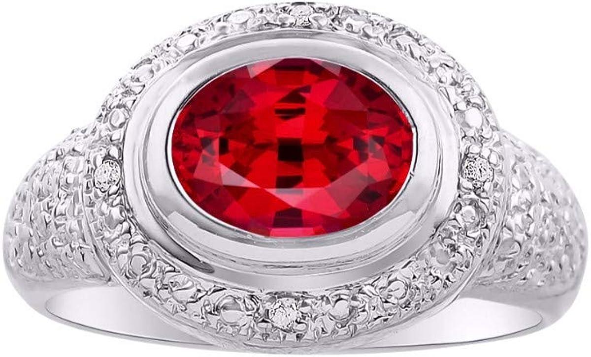 RYLOS - Anillo de plata de ley para mujer con piedras preciosas ovaladas y diamantes brillantes auténticos en esmeralda, rubí y zafiro, 925-9 x 7 mm
