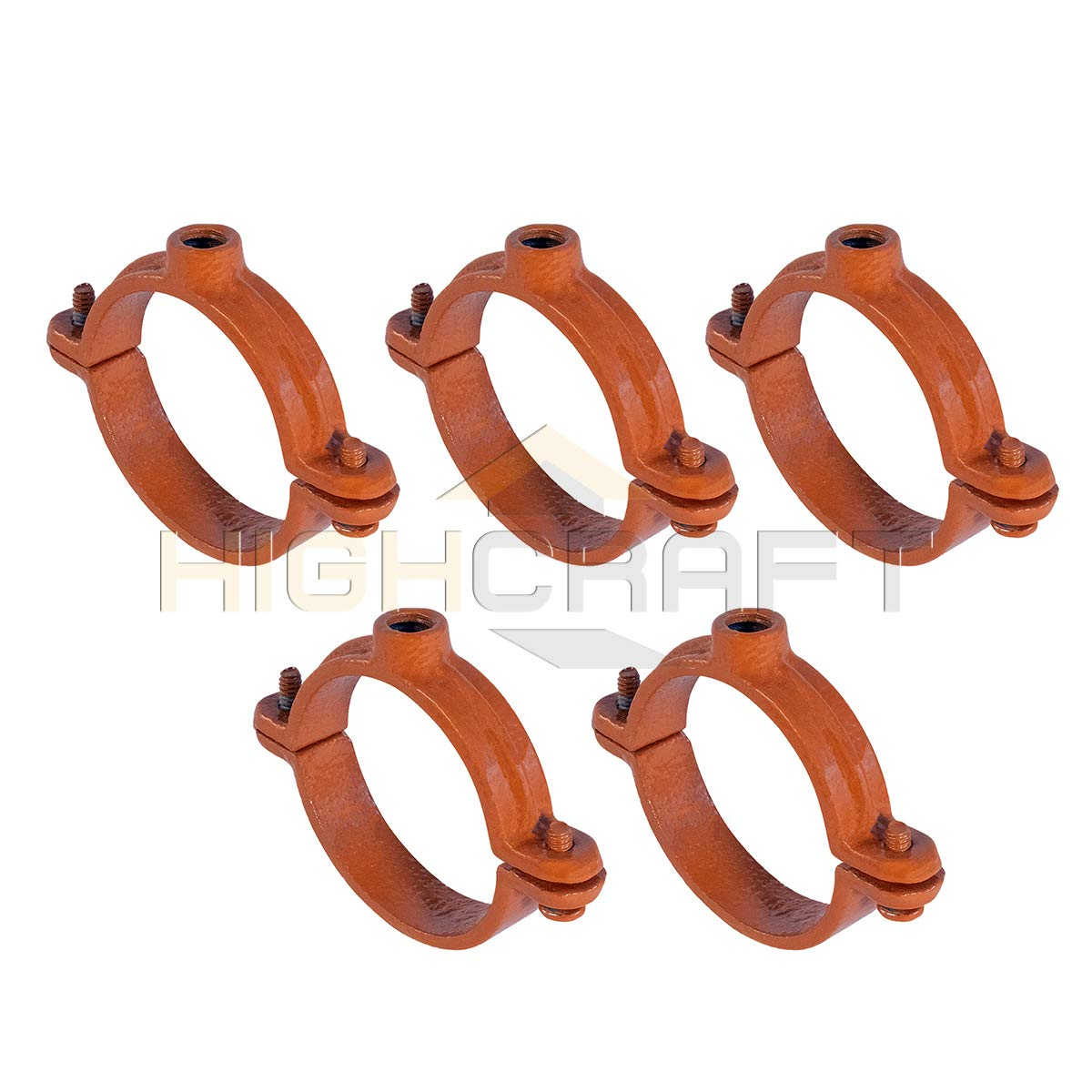 Highcraft HST-CP02-5 2PC Split Ring Pipe Hanger Copper Epoxy Coated Iron 2 in. 5 Pack by Highcraft