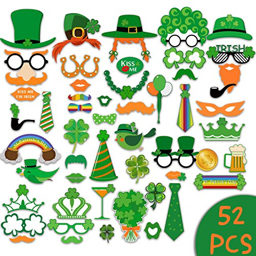 St.Patrick's Day Supplies Photo Booth Prop Sign Kit for Funny St Patrick Party Decoration,Holiday Parties Supply,Irish Party Favor-52 Count Saint Patty's Selfie Prop with Shamrock Hat Mustache - Party Booth Photo Holiday