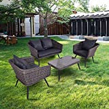 TANGKULA 4 Piece Patio Furniture Outdoor Rattan Wicker Loveseat Sofa Comfortable Cushioned Seat Garden Lawn Backyard Sectional Conversation Set with Glass Top Coffee Table