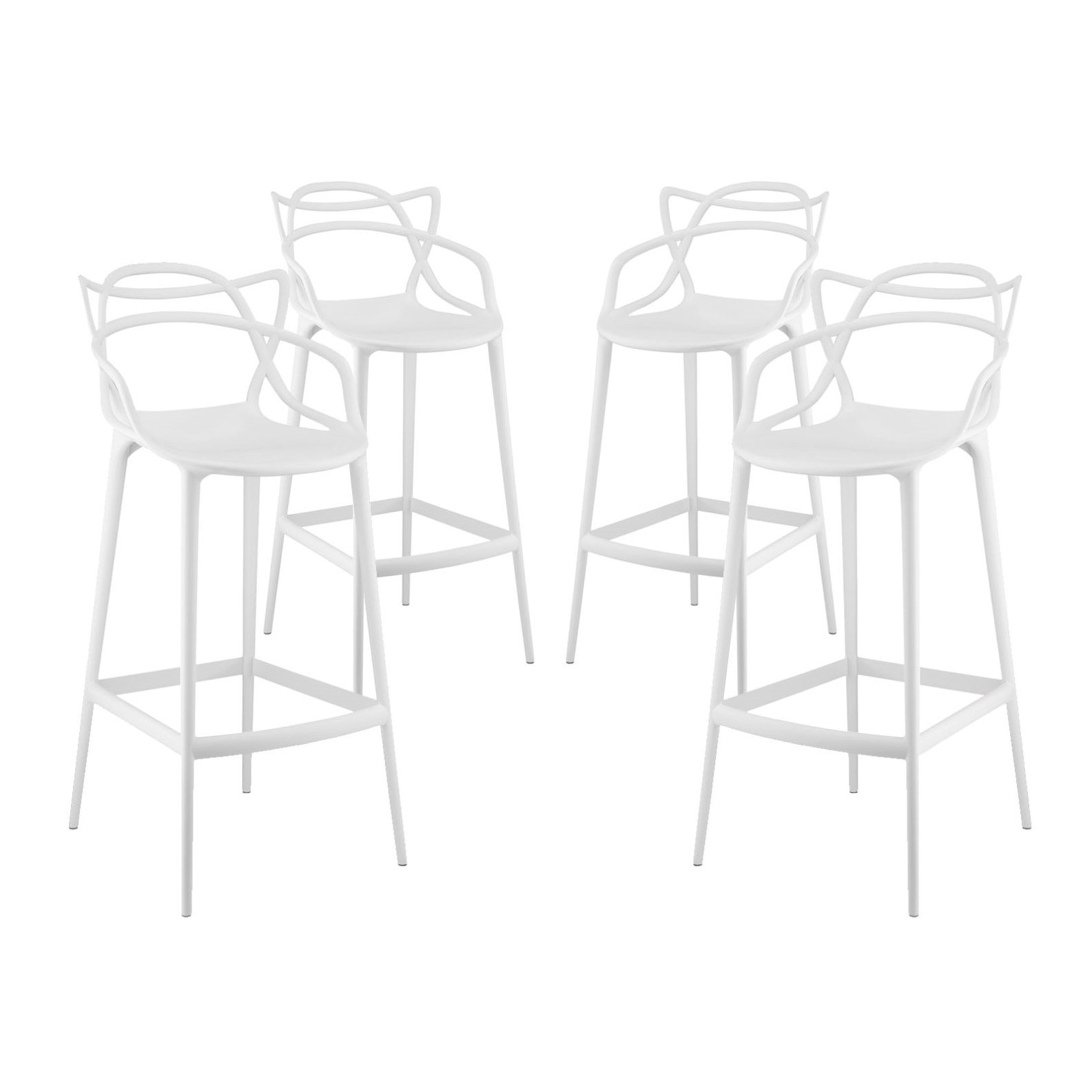 Modern Contemporary Urban Design Outdoor Kitchen Room Bar Stool Chair ( Set of Four), White, Plastic