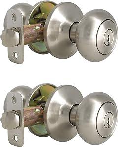 2 Pack Keyed Entry Door knobs in Satin Nickel Finish Keyed Alike Door Knob Sets with Lock for Exterior Entrance Interior Door Hardware, Round Door Knob, Universal Handling