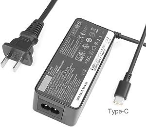 JUYOON 45w USB-c Charger for Lenovo ThinkPad T590 T580 T495s T495 T470s T470 E490s E480 ThinkPad L380 l390 Yoga X1 Yoga Tablet 10 ideapad D330 ADLX45YLC2D ADLX45YDC2D ADLX45YCC2D 2 Prong