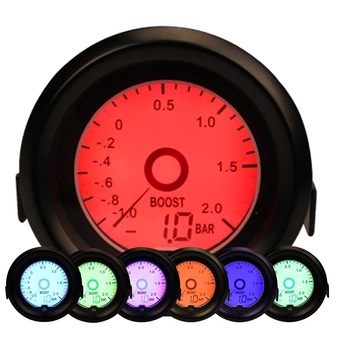 Medidor de medidor de Turbo Boost, Turbo Boost Gauge Meter con 7 colores de retroiluminación 52mm 2 para Auto Car Boat -1.0--2.0 Bar: Amazon.es: Coche y ...