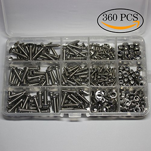304 Stainless Steel Home use,bolts Hex Lock Nuts and Washer or flat mat Assortment Kit,Phillips Flat/Pan,Machine/Tapping Screws,360 Pieces - Machine Screw Washer