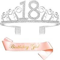 Feliz Cumpleaños 18th,18th Plata Cristal Tiara Corona