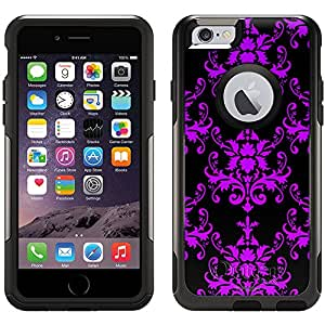 Skin Decal for Otterbox Commuter Apple iPhone 6 Case - Damask Pattern Purple on Black
