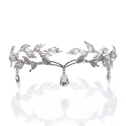 OULII Regalo del día de novia Vintage cristal perla diadema novia pelo accesorios boda favores de