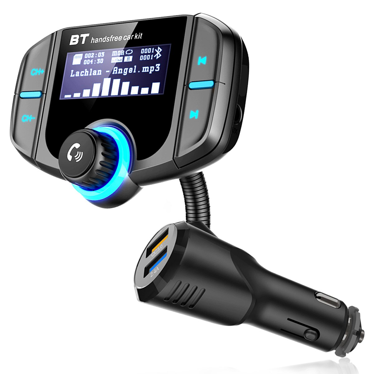 TF Card,AUX Input//Output Mp3//MP4 Player Techfly 4351503829 Bluetooth FM Transmitter,Wireless In-car Radio Adapter Hands-free Car Kit with 1.7 Inch Display QC3.0 Quick Charger 2.4A Dual USB Ports