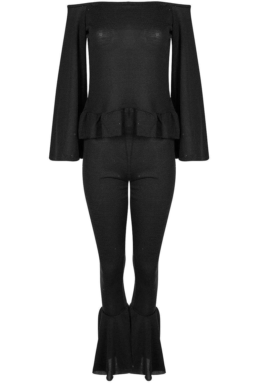 Be Jealous Womens Off Shoulder Tracksuit Marl Loungewear Set