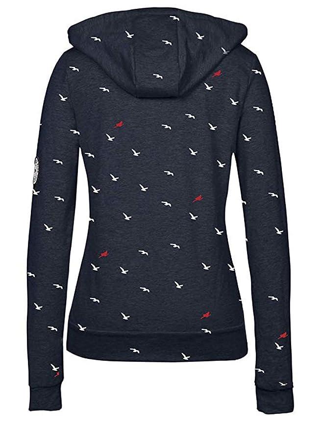 TrendiMax Damen Sweatshirt Zip Jacke mit Kapuze Sweatjacke Kapuzenjacke  Allover Druck  Amazon.de  Bekleidung 46dfe973eb
