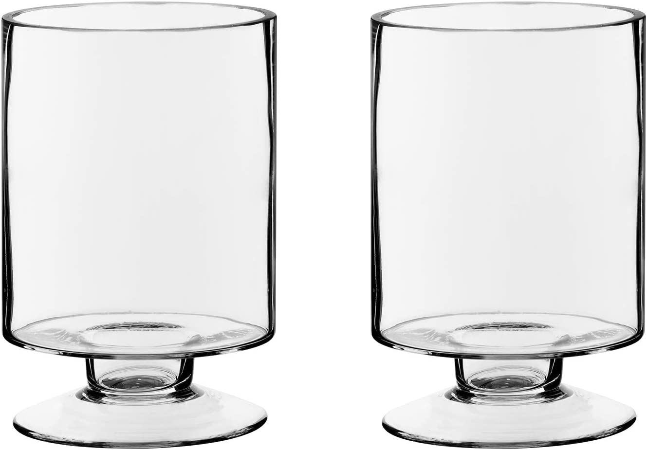 "CYS EXCEL Glass Hurricane Pillar Candle Holders (H:6"" W:3.75"", Pack of 2) 