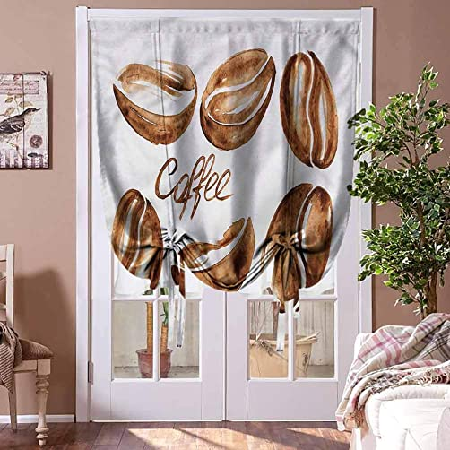 HouseLookHome Blackout Curtain Coffee Tie Up Window Valance Watercolor Effect Beans for French Doors Rod Pocket Panel, 42 W x 72 L