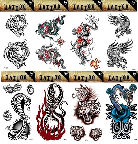 8pcs different long lasting and realistic temp tattoo stickers designs in 1 package, it including eagles,tiger heads,dragons,cobra and snake tattoo stickers ()