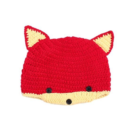 DELEY Unisex Bebé de dibujos animados de Crochet Knit Beanie Cosplay del  Zorro Rojo Sombrero de Bebé Ropa de Traje de la Foto Puntales de 0-6 Meses   ... b92114a49ea