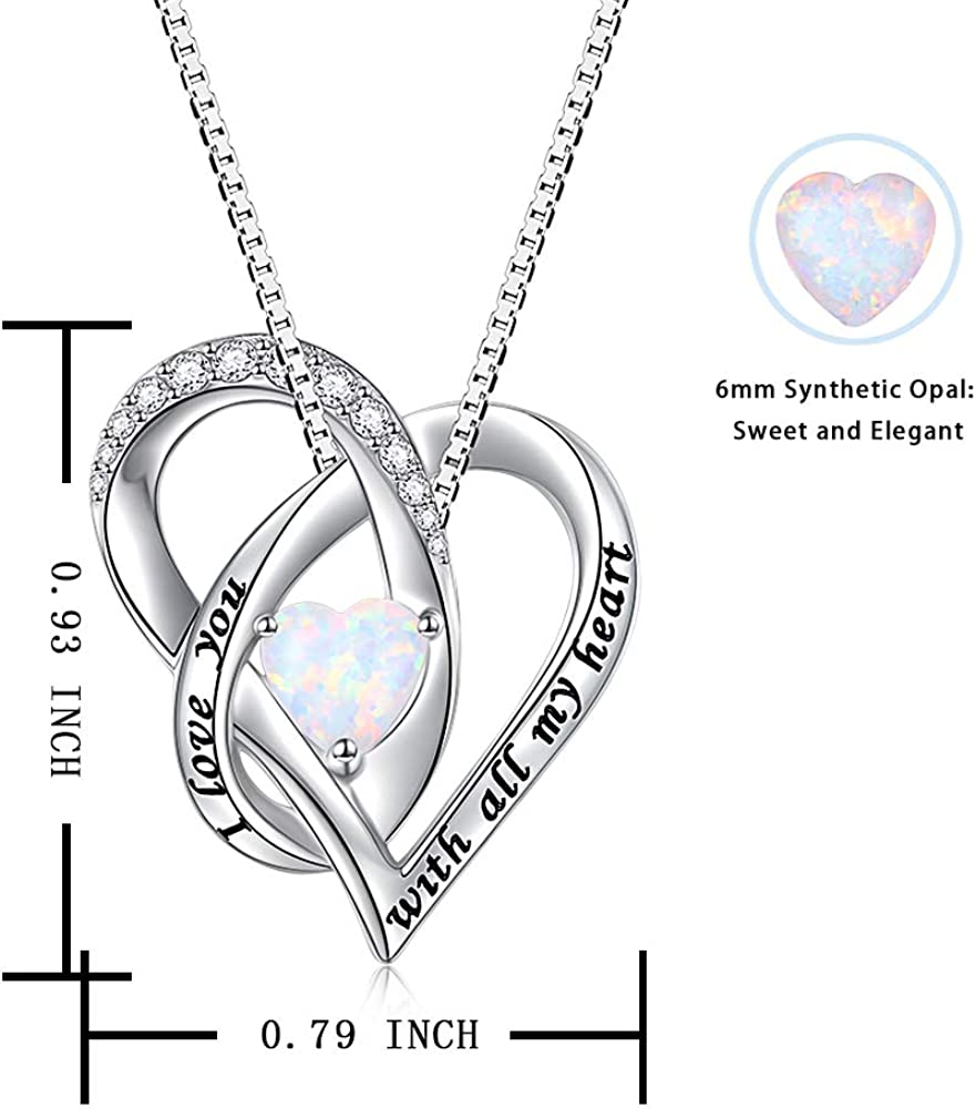 YinShan Women Lab Opal Heart Necklace 925 Sterling Silver Jewelry Engraved Love You Forever//Love You with All My Heart Cubic Zirconia Pendant 18 Inches