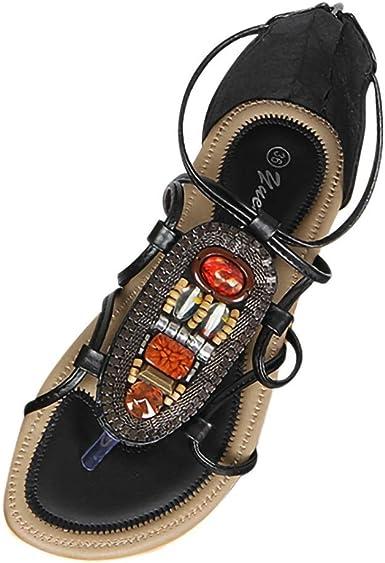 Women/'s Summer Boho Rhinestone Clip Toe Flat Sandals Flip Flops Beach Shoes Size