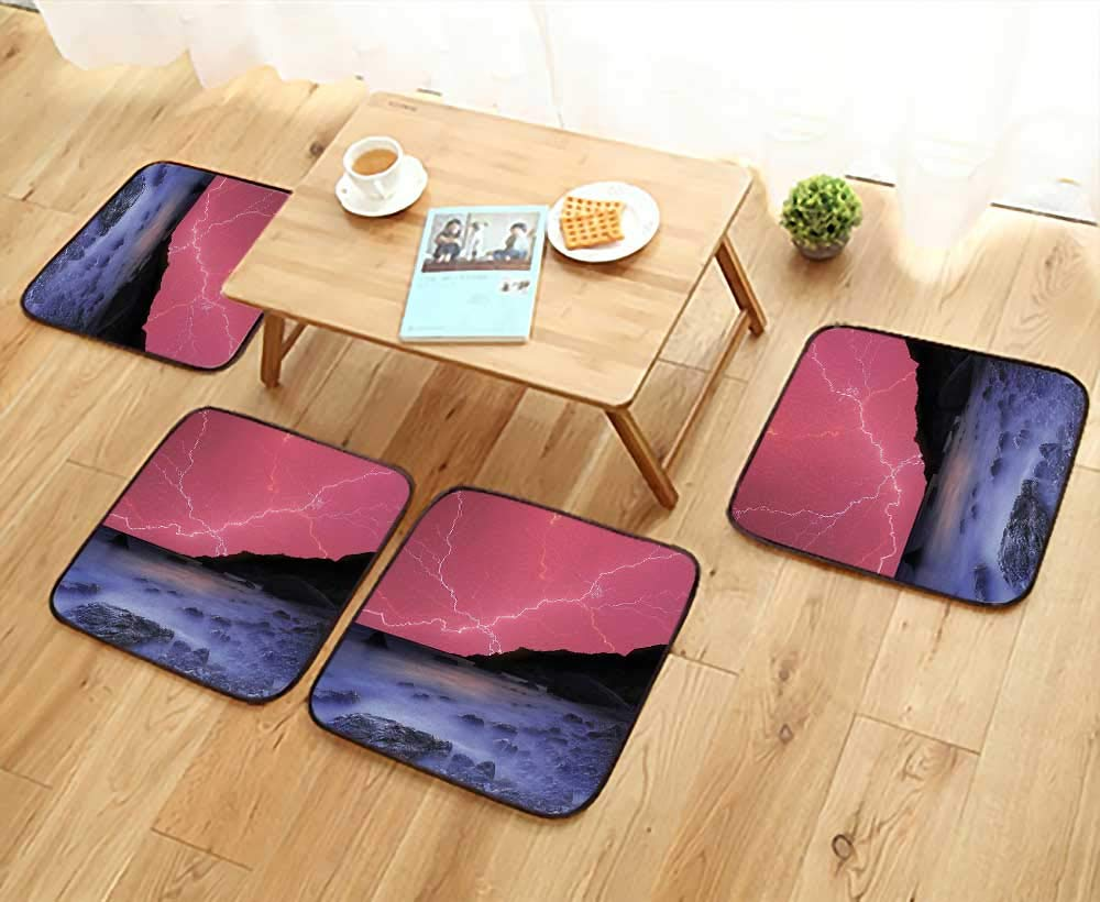 Luxurious Household Cushions Chairs Decor Thunderstorm Bolts with Vivid Colorful Sky Like Solar Lights Phenomenal Nature Pictu Soft and Comfortable W31.5 x L31.5/4PCS Set