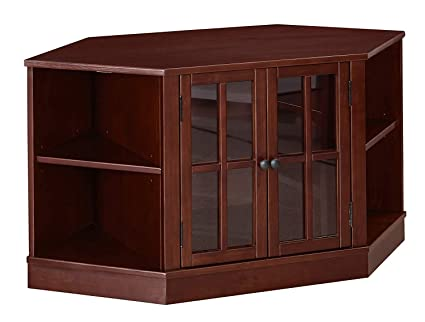 MUSEHOMEINC Texas Corner Wood TV Stand with Glass Cabinet and Shelf Storage  for Living Room Media Entertainment Center Console/TV Sides Up to 62 ...