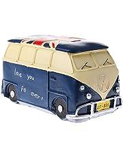 MagiDeal Vintage Bus Money Saving Bank Handcraft Kid Piggy Bank Home Office Decor Blue