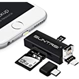 """suntrsi TF/SD Card Reader compatible with iPhone/OTG Android/Computer, Micro SD Card Reader compatible with iPhone/iPad Charging,Compatible to SD Card Camera Adapter """"x disk"""""""