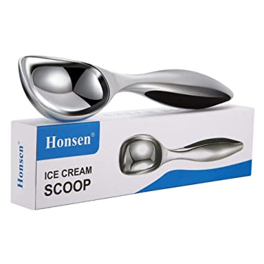 Honsen Solid Stainless Steel Ice Cream Scoop with Thickening Handle