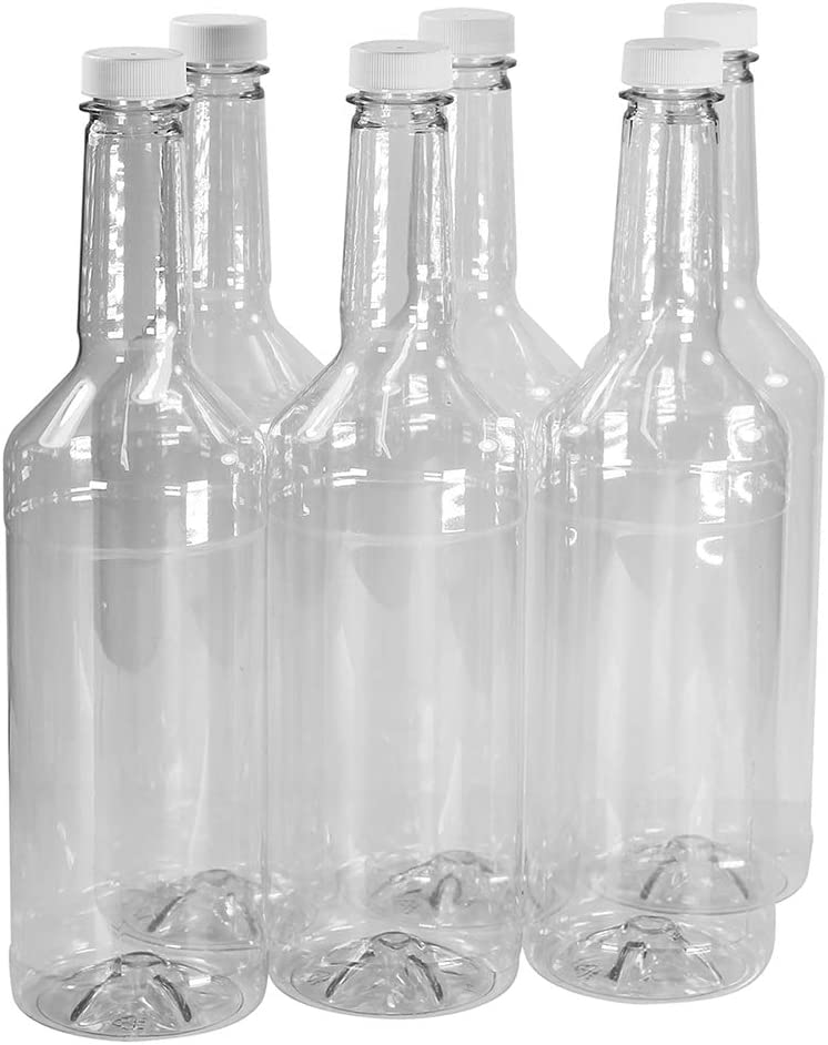 Pinnacle Mercantile 32 oz. Long Neck Plastic Bottles (6-Pack) Empty, Reusable, BPA-Free | Screw On Caps | Liquor, Condiment, Shaved Ice Topping Use | Compatible with Speed Pours …