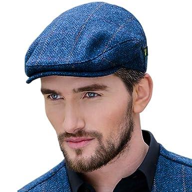 50c4811c Men's Donegal Tweed Flat Cap - Traditional style, Modern fashion item -  Blue, Medium