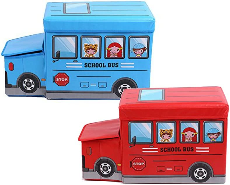 Palasyo School Bus Collapsible Childrens Toy and Closet Organizer Storage Box Red and Blue